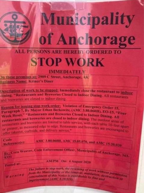 Anchorage diner defies COVID-19 orders